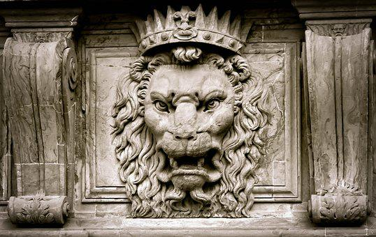 Lion, King, Crown, Stone