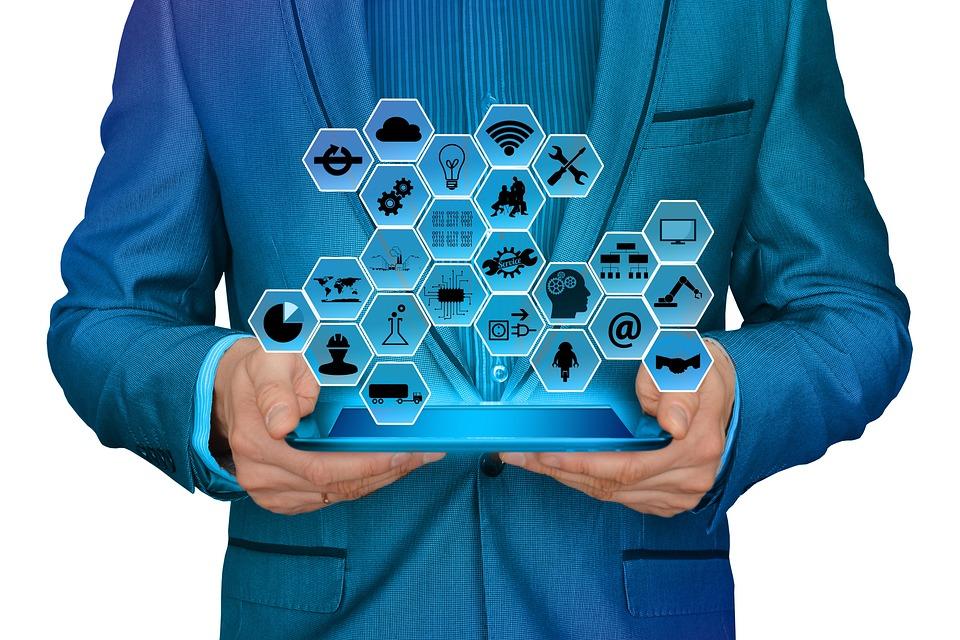 業界, 実業家, 男, スーツ, 産業4, ウェブ, ネットワーク, ポイント, 手, 指, タッチ, ライン