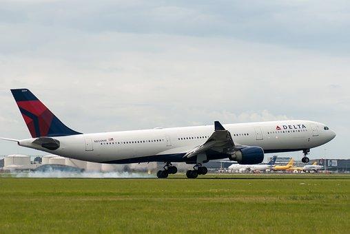 飛行機, デルタ, 航空会社, 滑走路, スキポール