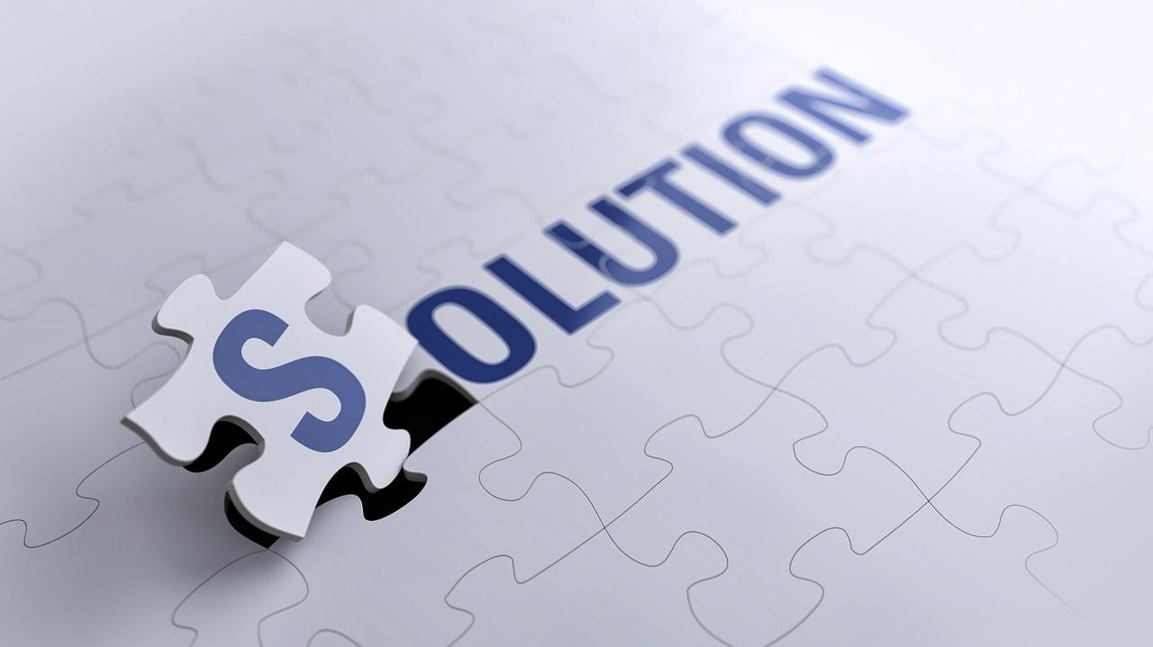 解決, ジグソー パズル, 問題, コンセプト, レンダリング3Dは, パズル, ソリューション, 成功
