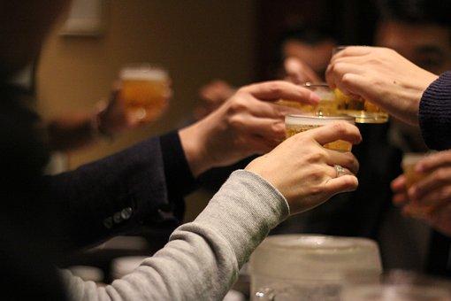 乾杯, 飲み会, 酒, グラス, 飲む, 夜, 集まり, 会合, 集会, 食事
