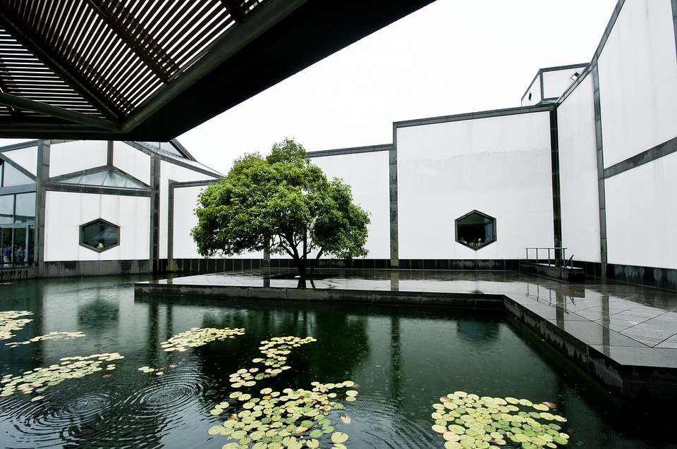 Suzhou Museum Pool Rain 183 Free Photo On Pixabay