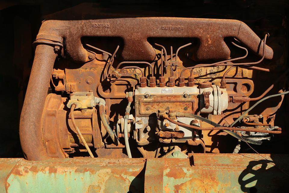 Rusty, Old, Engine, Mechanical, Aged