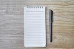 notebook, pen