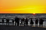sunset, people, silhouettes