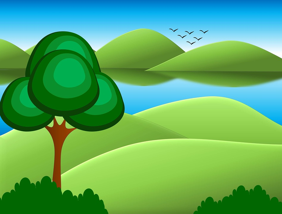 free illustration cartoon background trees sky free