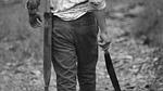 man, black and white, machete