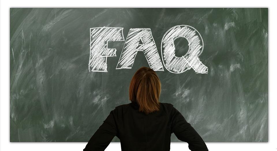 よくある質問, 質問, しばしば, 女性, ボード, 学校, 教育, 表示します, ヘルプ, サポート
