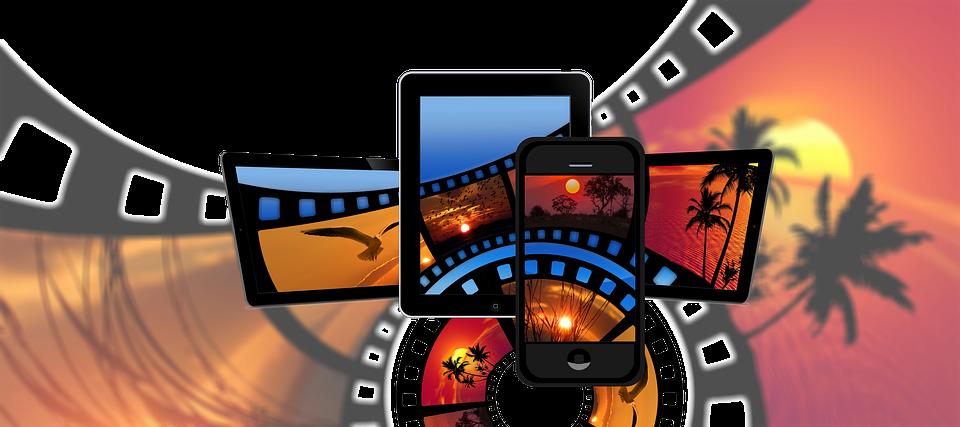 映画, フィルム ストリップ, スマート フォン, ノート パソコン, タブレット, 白, ビデオ, アナログ