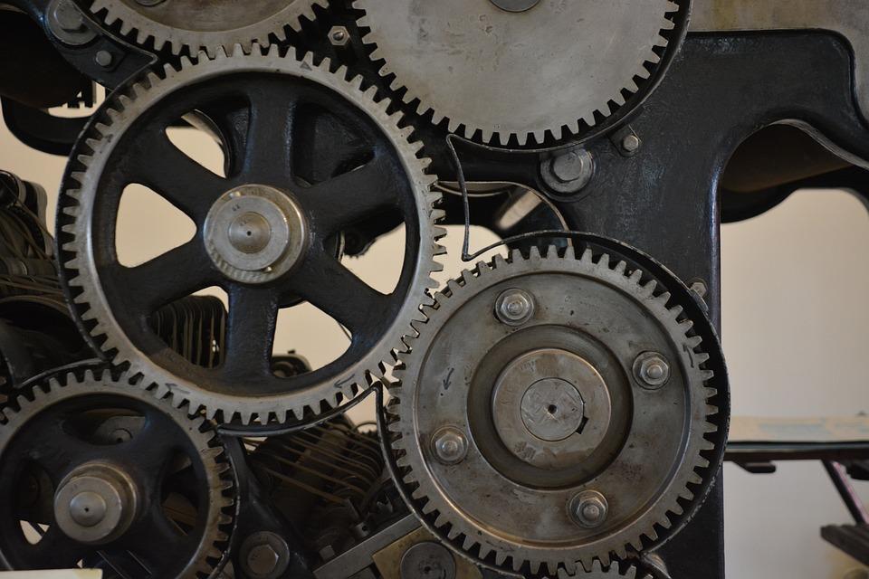 技術, 印刷, 機械工学, オフセット, 役割圧, 歯車, 詳細, ドライブ シャフト, 力学