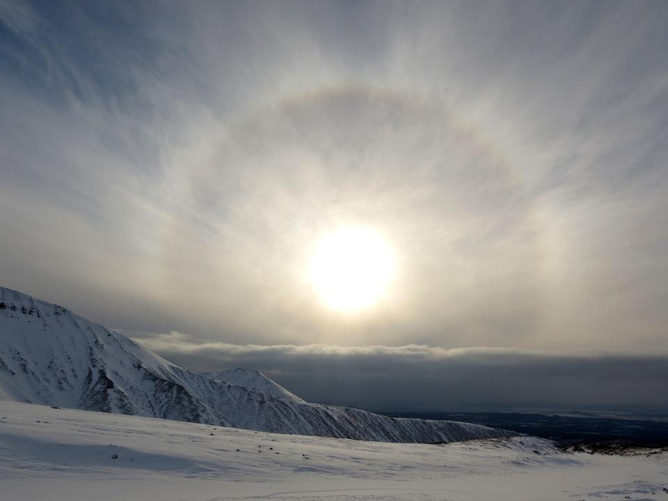 Halo, Sun, Cirkel, Sfeer, Stralen, Bergen, Natuur