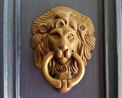 Lion, Door, Doorknocker, Knocker, Old