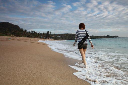 Ragazza, Ocean, Estate, Beach, Vacanza