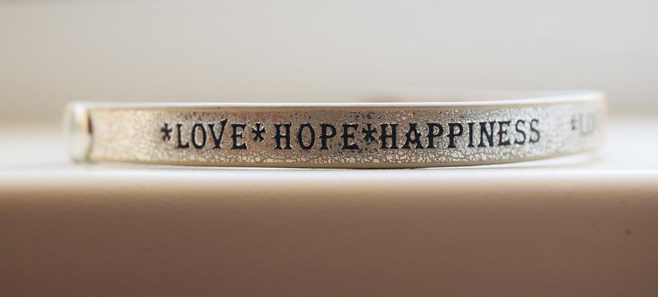 Amar, A Esperança, Felicidade, Inscrição, Pulseira