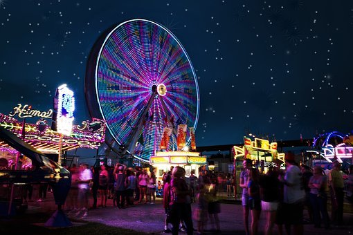 Carnival Rides, Night, Ferris Wheel