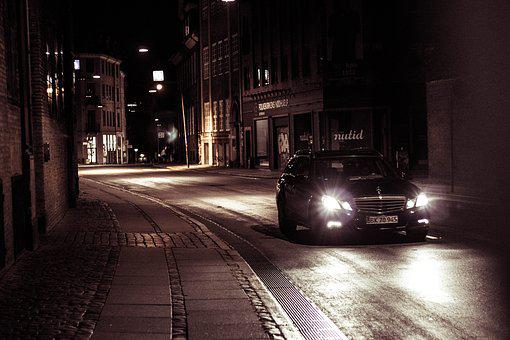Car, Night, Copenhagen, Way, Scene