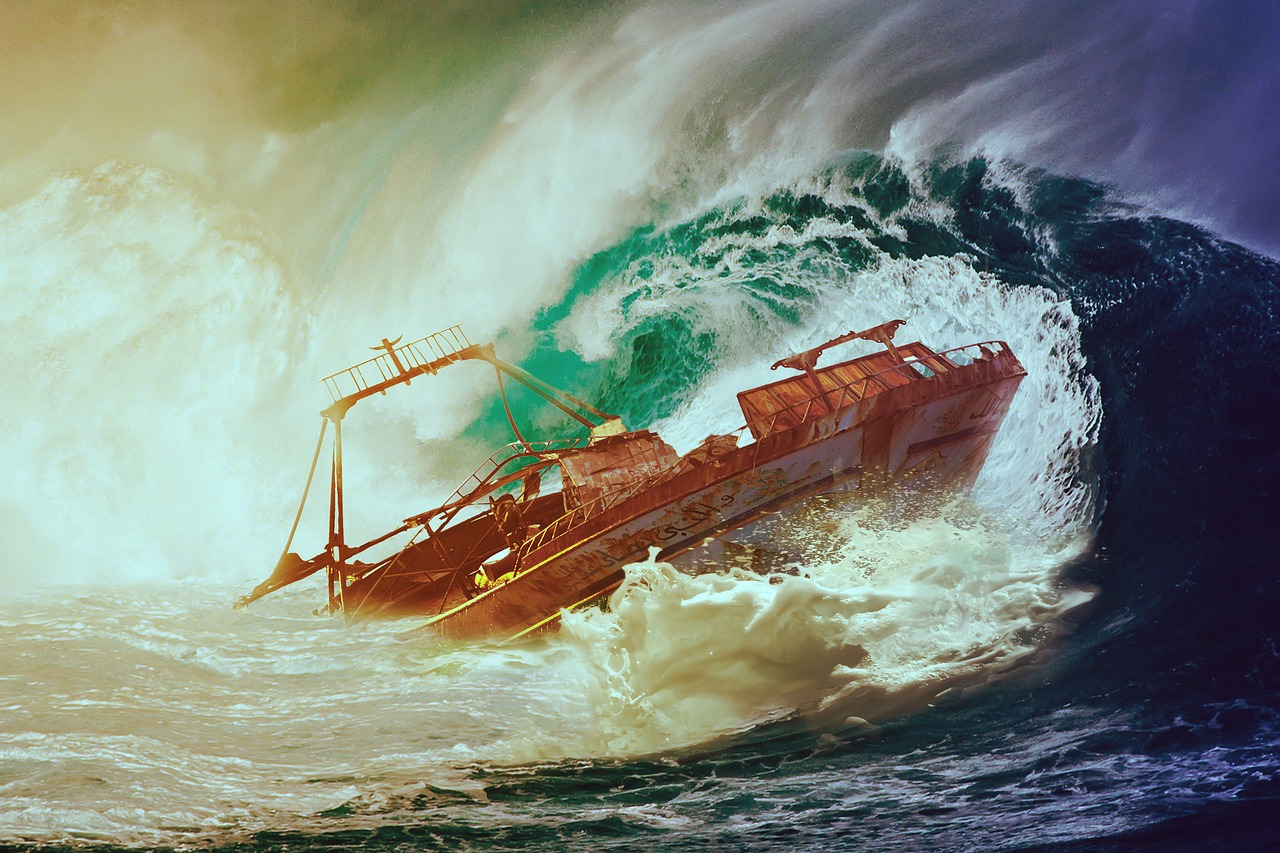 Wave, Boat, Sea, Water, Ship, Wreck, Lake, Capsize