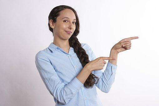 ポインティング, 表示中, 女性, 方向, 身振り, 指, 手, 女の子