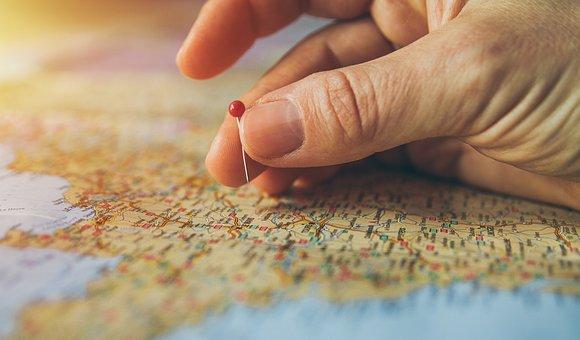 旅行, 固定, 地図, アトラス, 国, 目的地, 地理学, 針, 観光, 手