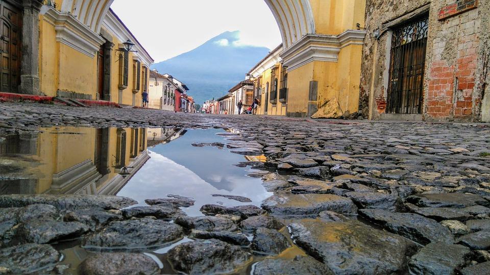 Antigua Gwatemala, Sunrise, Gwatemala, Wulkan Agua