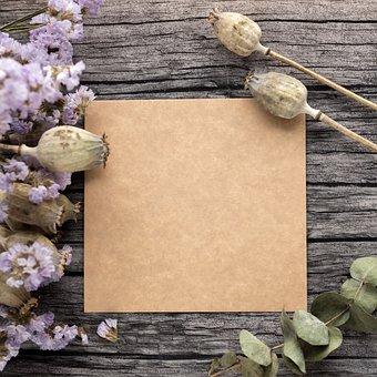 テンプレート, 手紙, クラフト, ドライフラワー, 花, ツリー