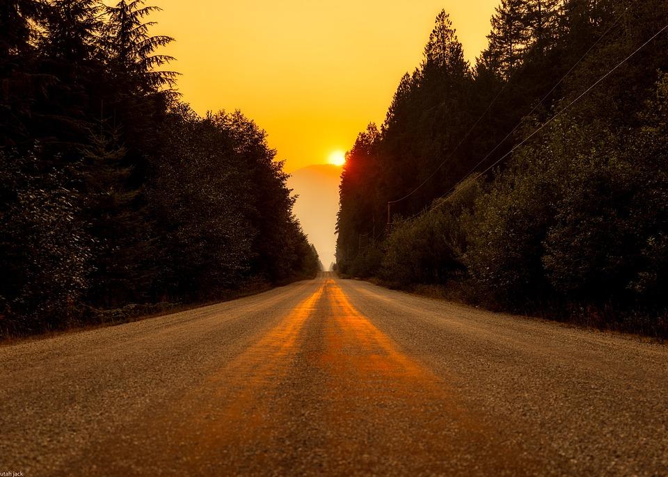 Kanada, Krajobraz, Drogi, Autostrada, Zachód Słońca