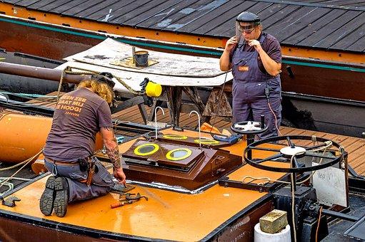 労働者, はしけ, 屋形船, ボート, 船, ロッテルダム, オランダ