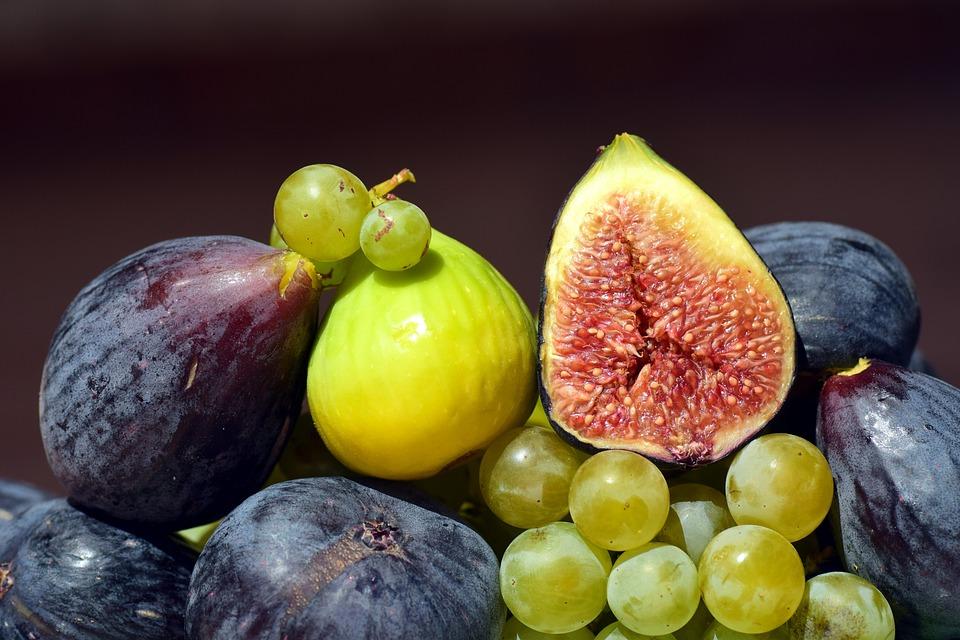 Cesto Di Frutta, Frutta, Vitamine, Sano, Fichi, Uva