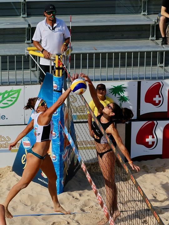 Beachvolleyball, Wettkampf, Sand, Schiedsrichter, Sport