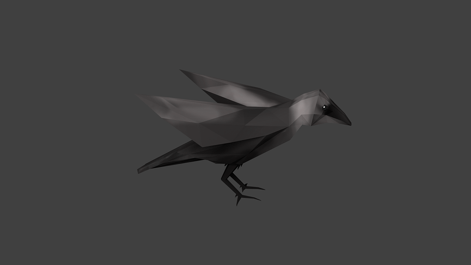 crow 3d crow 3d bird black nature render raven
