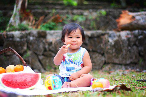Picnic, Baby, Eating, Cute, Child, Food