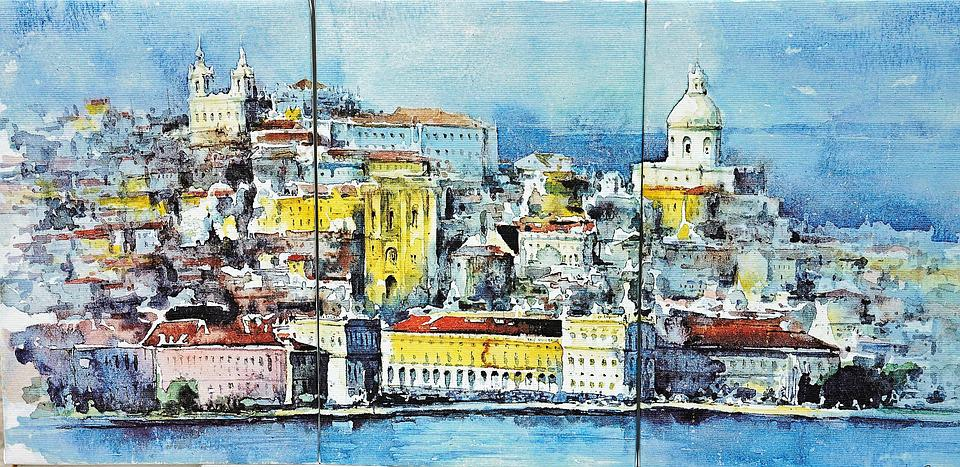 Lisbon, Painting, Drawing, 3 Piece, Canvas, City, View
