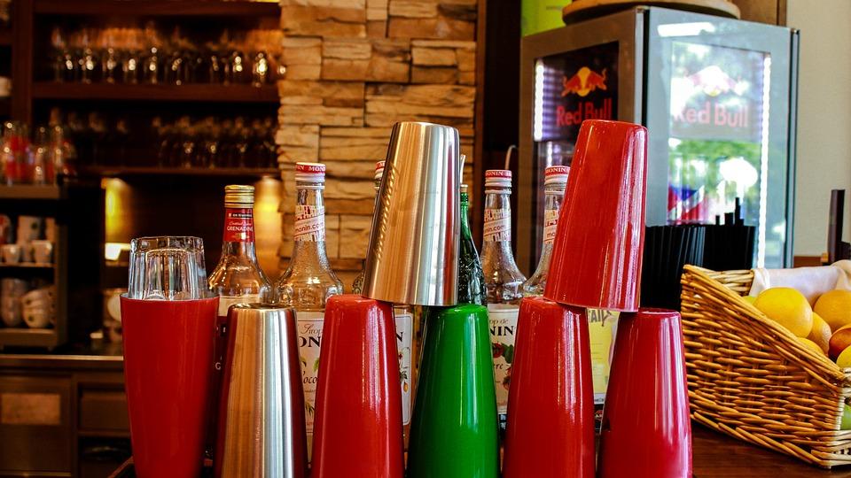 Bar, Puchary, Pić, Shaker, Szkła, Kolorowy, Bottles