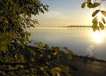 river, dawn, sun