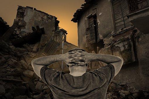 Destroyed Houses, Destruction, Man