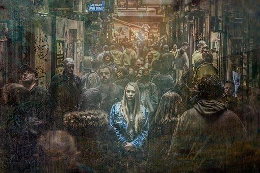 女性, 1人, 群衆, 悲しい, うつ病, うつ, 孤独, 不幸, 感情の
