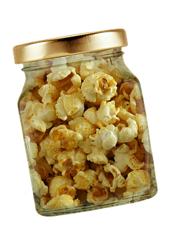 Popcorn, Glass, Lid, Isolated