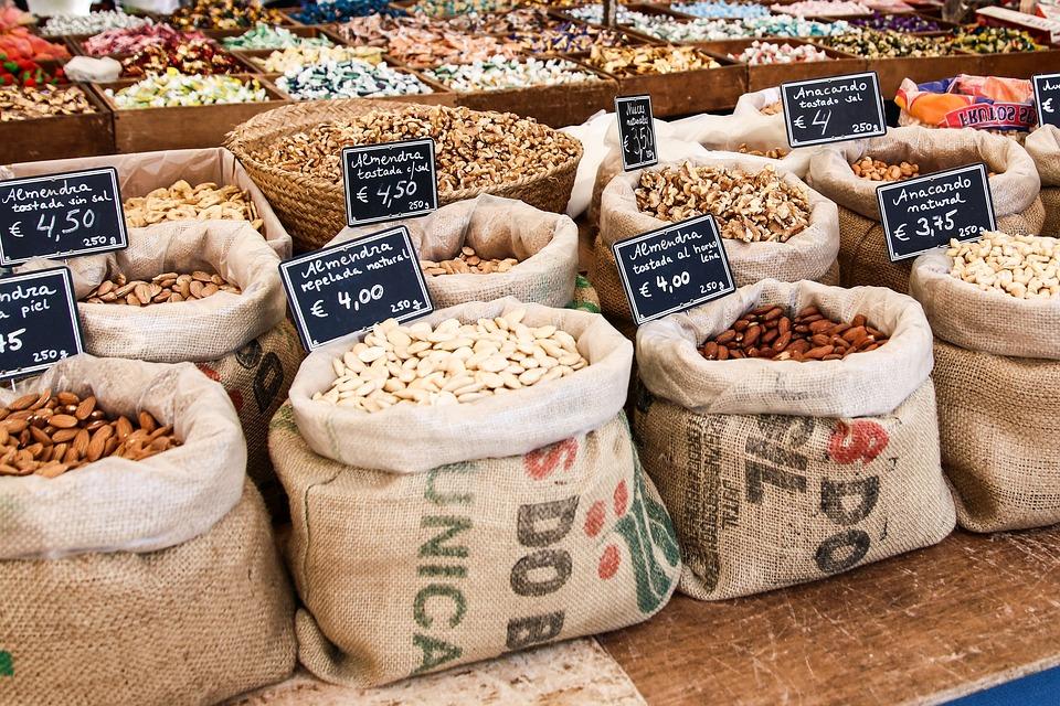 Mercado, Frutos Secos, Vender, Alimentos