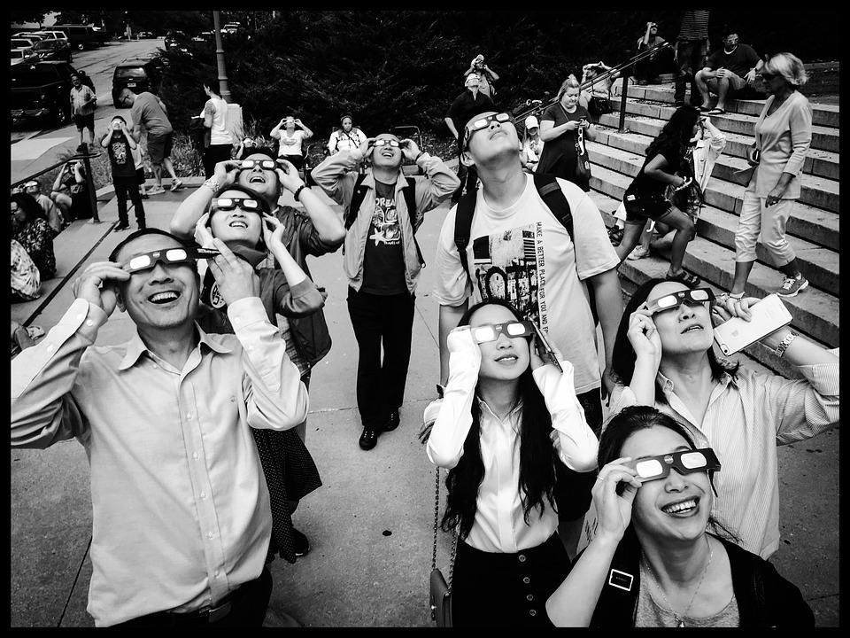 Eclipse, Eclipse Solar, Gafas, Expresión, Buscar, Cielo