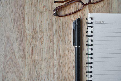 ノートブック, ペン, アイウェア, 記事, メモ, ノートを取る, 仕事, 本