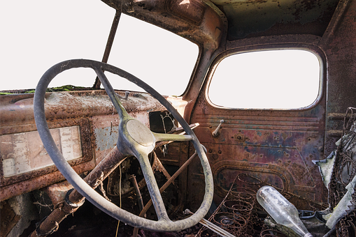 トラック, スクラップ, 交通機関, オールドタイマー, 歴史的に, 古い, 錆