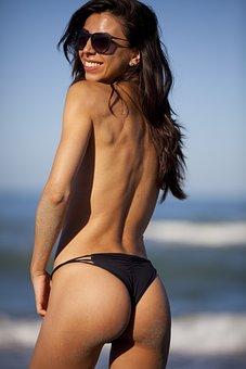 Girl, Naked, Costume, Beach, Sea