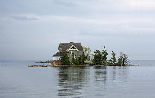 Maison, Accueil, Lac, Chalet