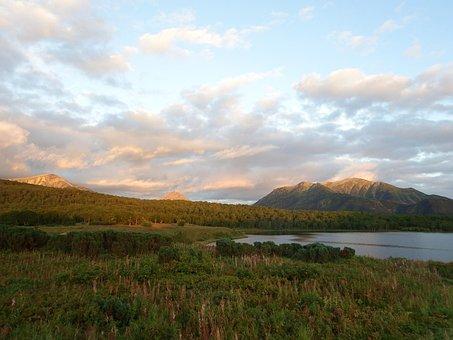 Lac, Soirée, Coucher De Soleil, Nuages