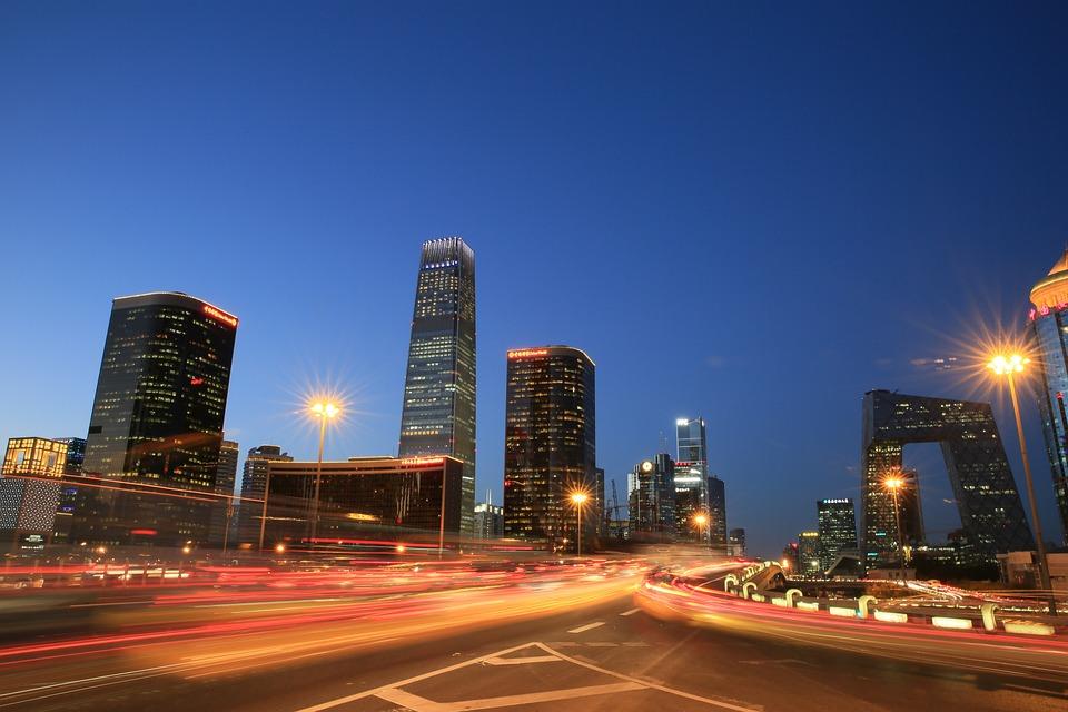 北京, 国贸, 夜景, 车流