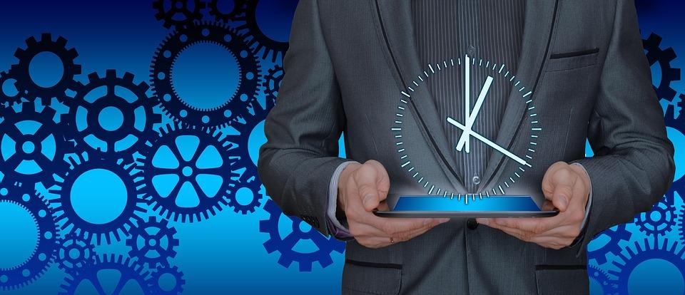 Tiempo, Empresario, Tablet, Engranajes, Organización