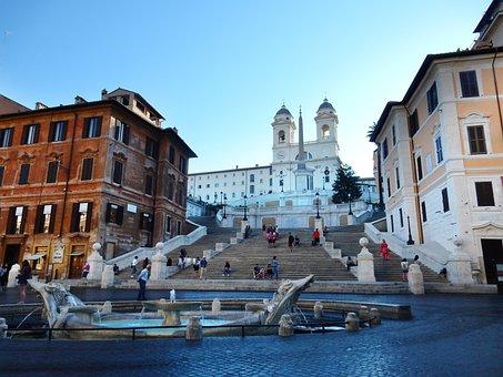 スペイン階段, ローマ, イタリア, 歴史的に, 階段, 教会