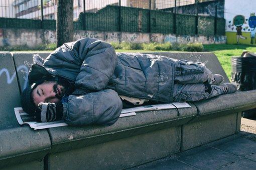 Indigente, Hombre, Solitario, Durmiendo