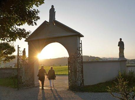 Pair, Man, Woman, Cemetery, Einsiedeln