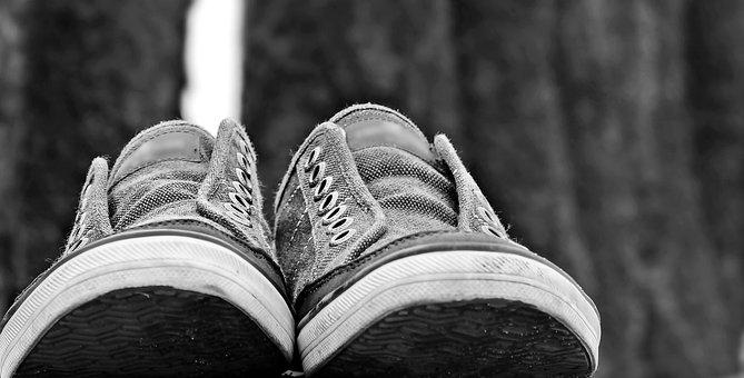 Sneakers, Shoes, Pair, Bollard, Beach